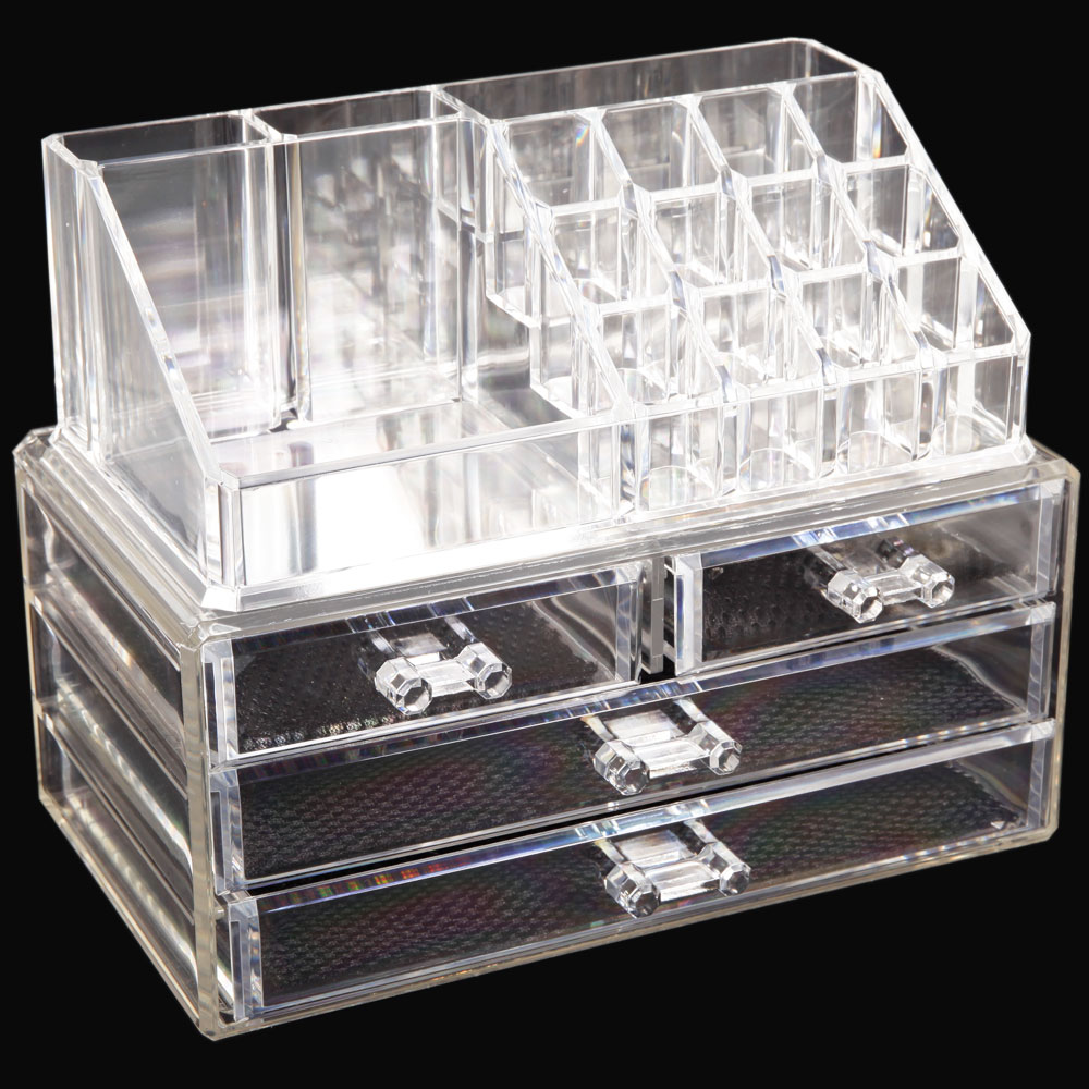 Acrylic Jewelry Makeup Cosmetic Organizer Case Display