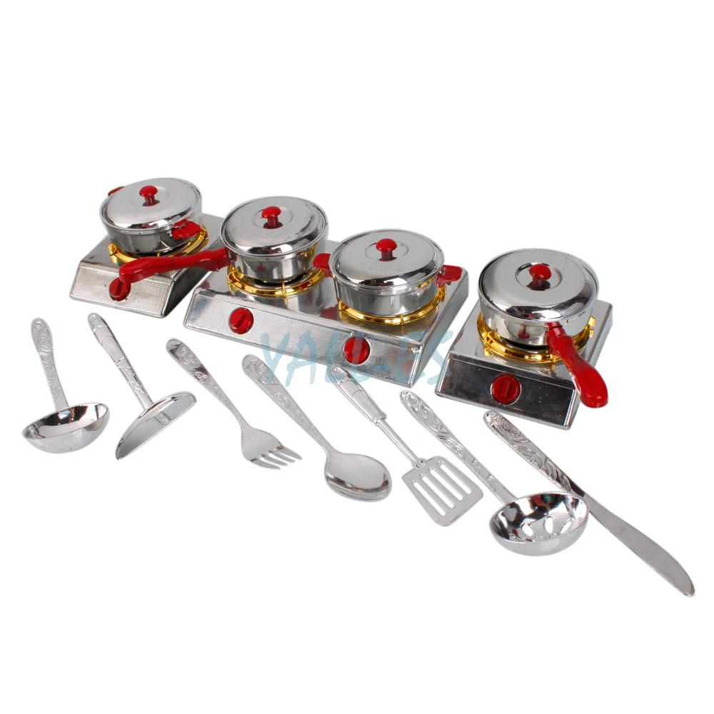 Great Set Kids Play Toy Kitchen Utensils Pots Pans Cooking