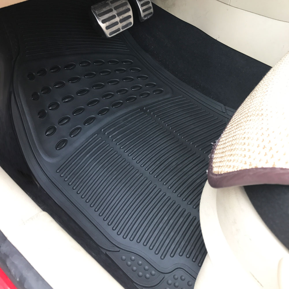Custom Fit Flooring: Black Car Floor Mats For All Weather Rubber 4pc Set Semi