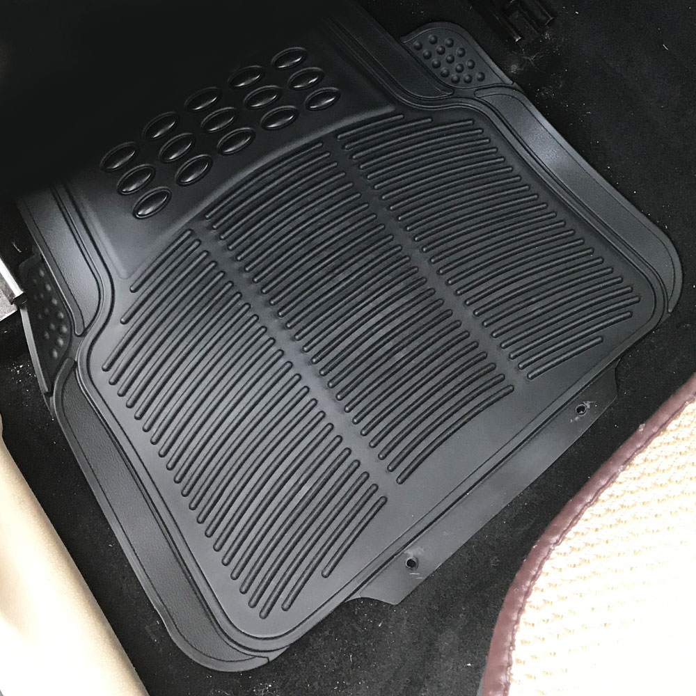 Black Car Floor Mats For All Weather Rubber 4pc Set Semi