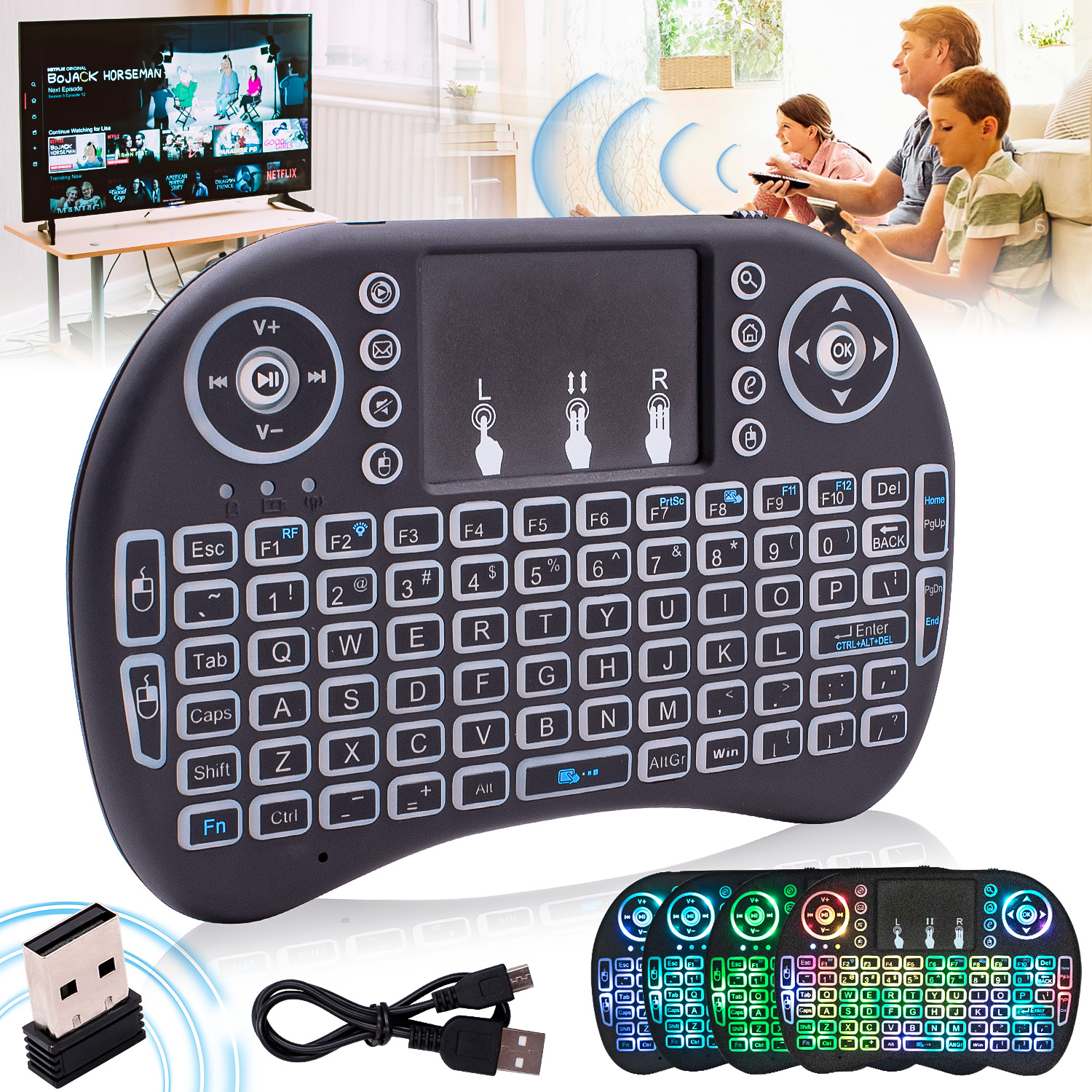 Details about Mini Wireless Remote Control Keyboard for Smart TV PS4  Android TV Box