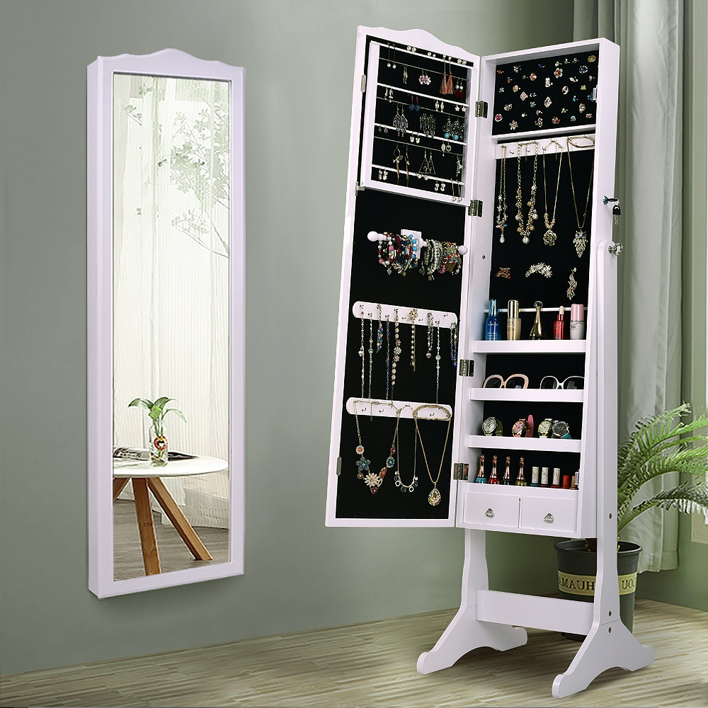 lockable mirrored jewelry cabinet armoire mirror organizer storage box w stand 653801892543 ebay. Black Bedroom Furniture Sets. Home Design Ideas