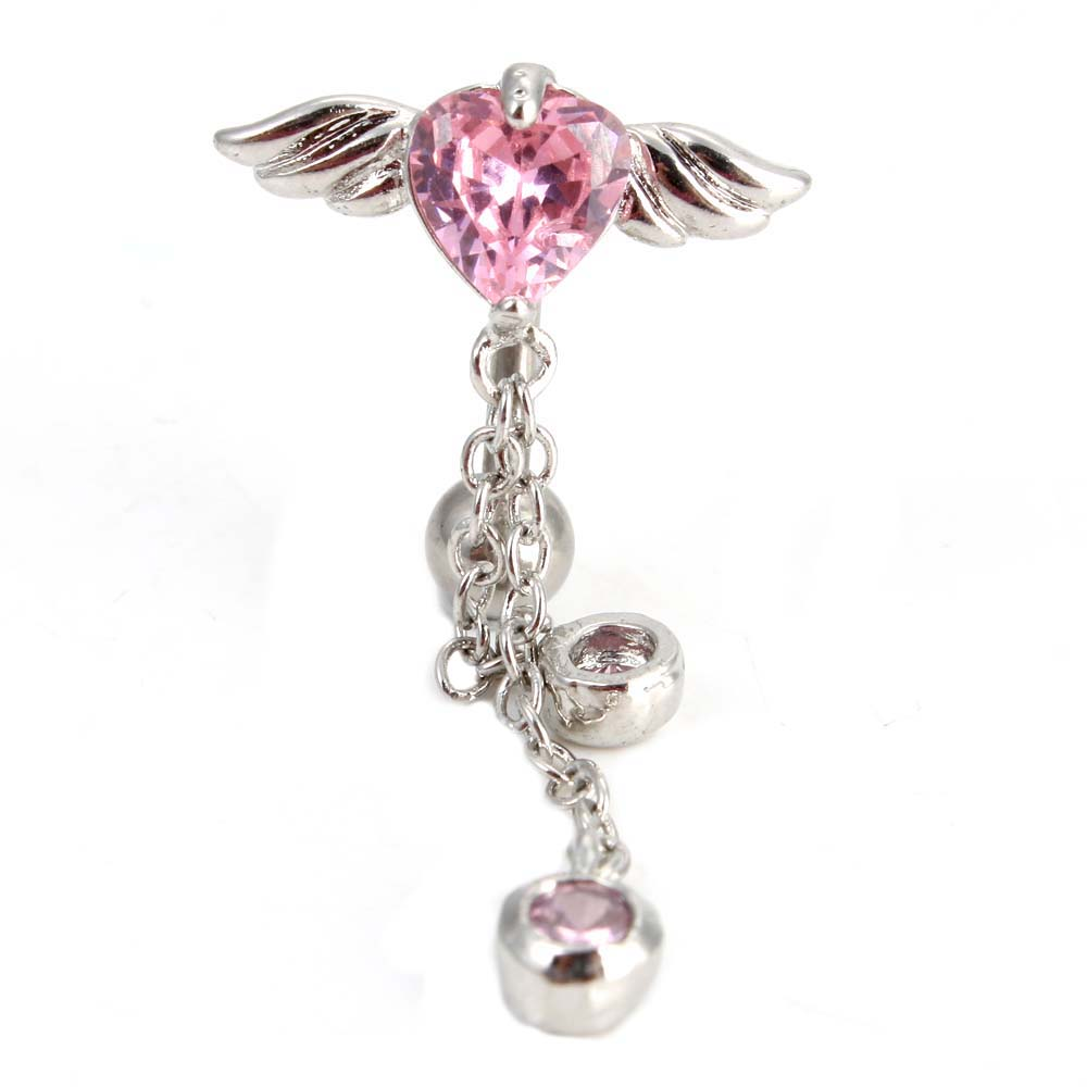 pink wing chain barbell navel belly