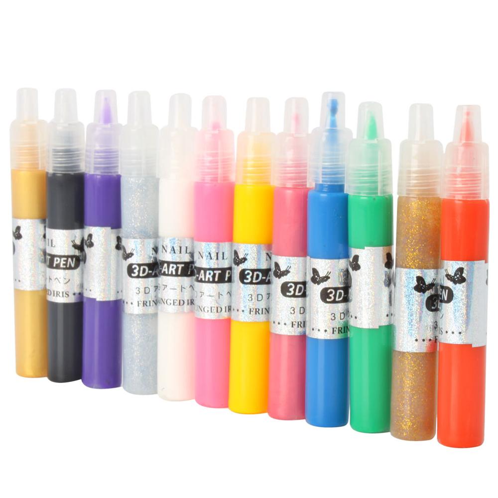 Fashion Nails Tools 12colors Nail Art Polish Pen For: 12 Colors Nail Art Pen Painting Design Tool Drawing For UV