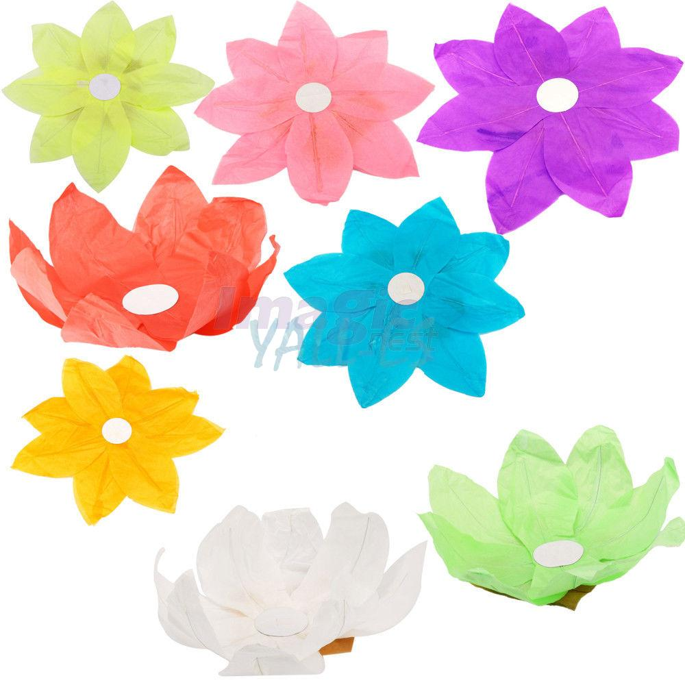 5x paper lotus flower chinese floating light candle for Diy paper lotus candlestick